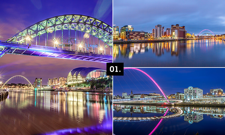 Three tiled images - including two iconic Newcastle bridges and one of the quayside
