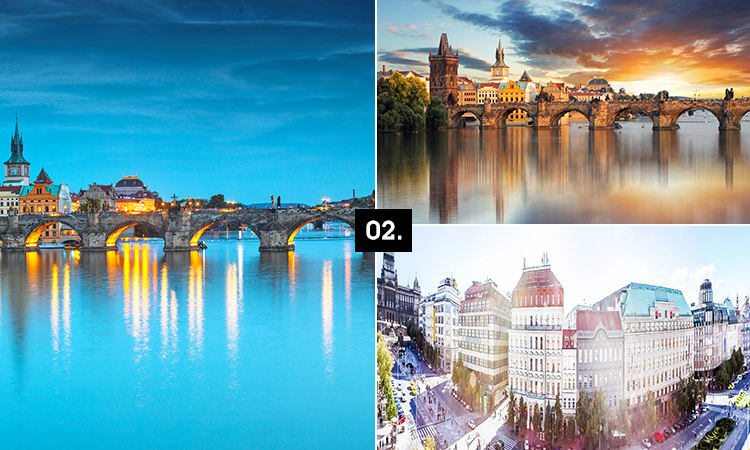Three tiled images - including two of Prague's famous bridge and a large, grand building in Prague
