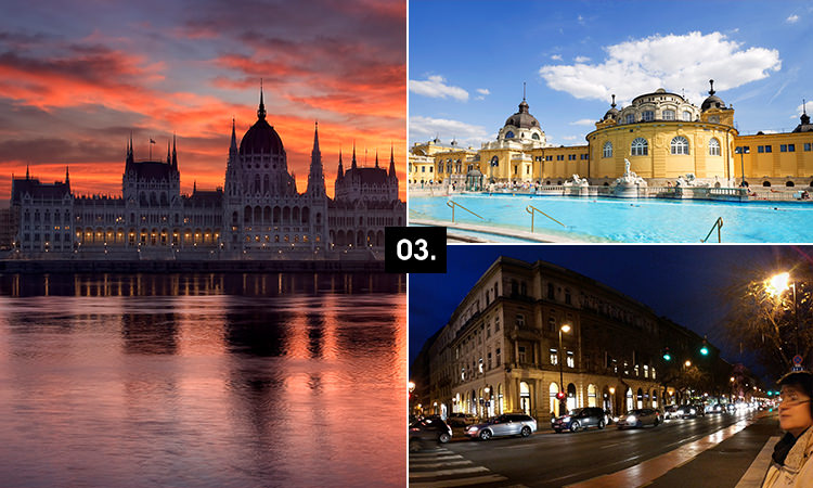 Three tiled images - including the famous Budapest baths and two famous buildings in the city