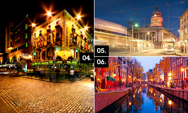 Three tiled images of Dublin, Nottingham and Amsterdam