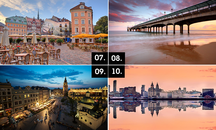 Four tiled images of Riga, Bournemouth, Krakow and Liverpool