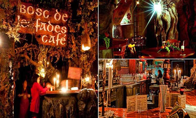 Three tiled images of El Bosc de les Fades bar in Barcelona