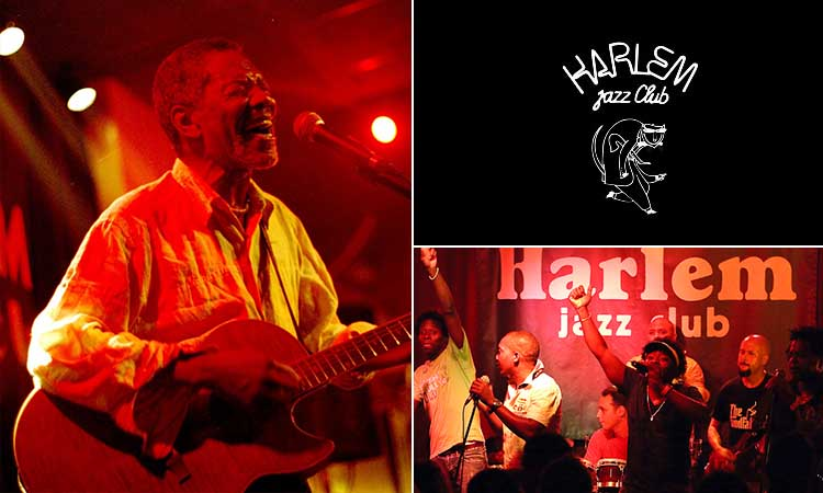 Three tiled images, one of a man singing with a guitar, one of the Harlem Jazz Club logo and one of some people singing on stage