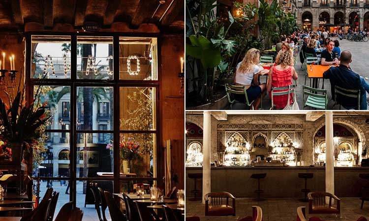 Three tiled images of Ocana bar in Barcelona, from the inside and out