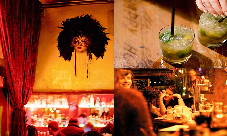 Three tiled images of a mask mounted on the wall, two mojitos and some women chatting in Sub Rosa bar in Barcelona