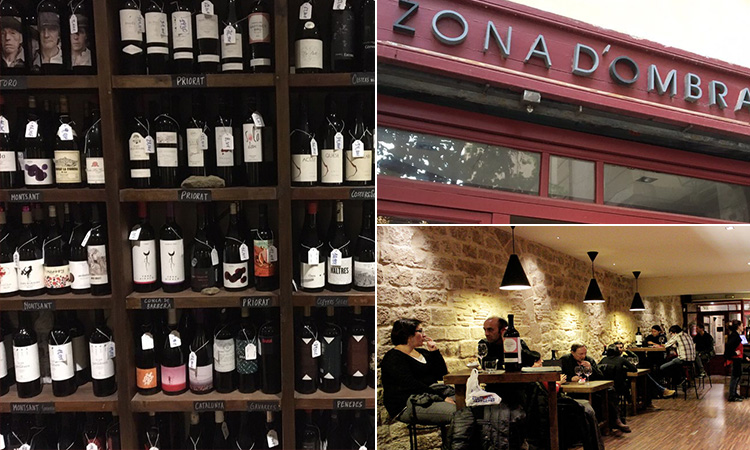 Three tiled images of some wine on shelves, and the exterior and interior of Zone d