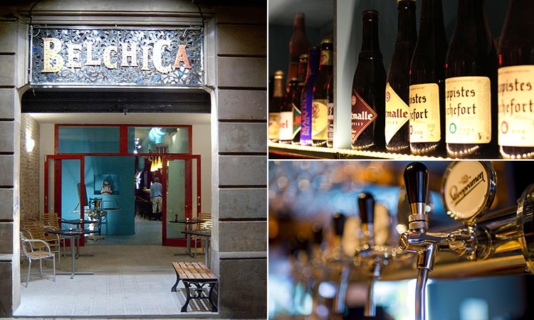 Three tiled images of Belchica, some bottles of wine lined up and some beer taps