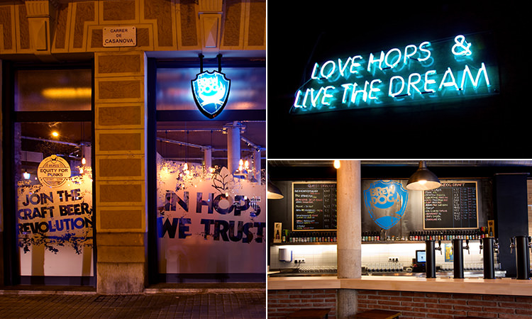 A split image of the exterior of Brewdog, the neon sign inside and the bar