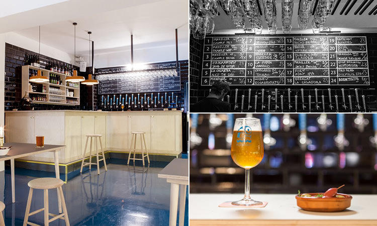 Three tiled images showing a bar with stools, a chalkboard with beers up and a beer and tapas bowl