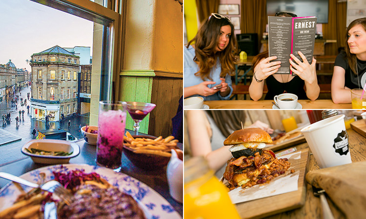 Three tiled images of some food on a table with views of Newcastle outside, three girls reading a menu and a huge burger on a board