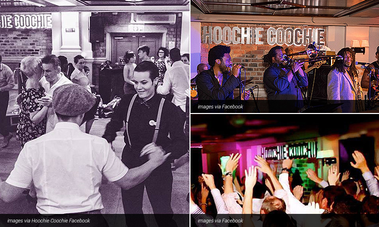 Three tiled images of Hoochie Coochie; including a black and white image of people dancing, people at the club and a live band