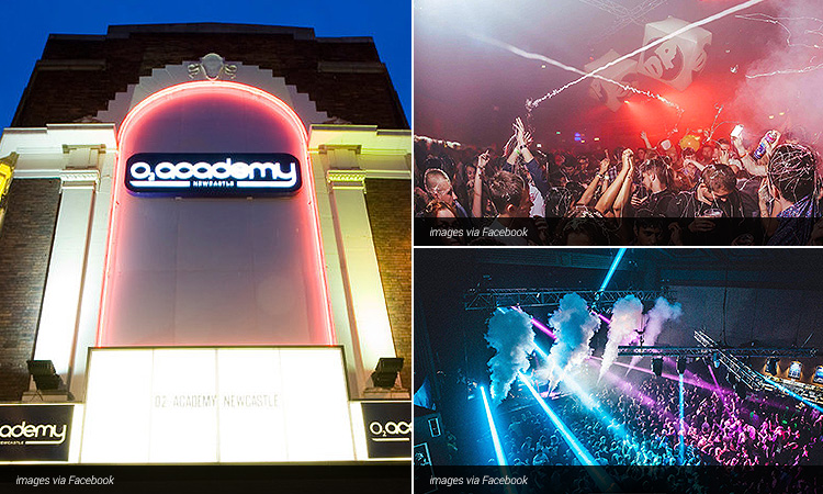 Three images of the O2 Academy; including one of the exterior at night and two of people dancing and listening to bands at the venue