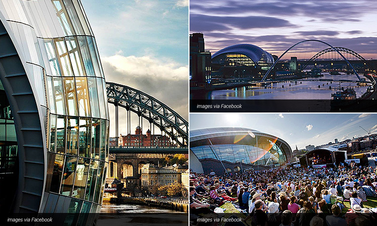 Three tiled images of the exterior of the Sage, including one of people sat on the hill and watching a concert outside the Sage