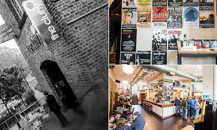 Three tiled images of The Cluny; including a black and white exterior image, one of music posters on a wall and one of the bar and seating area
