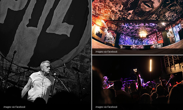 Three tiled images of Think Tank; including one of Johnny Rotten performing on stage, one of the interior and one of people in the club
