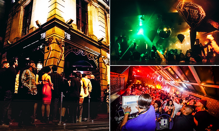 Three tiled images of Tup Tup Palace - including one of people lining up outside the bar and two of people in the club