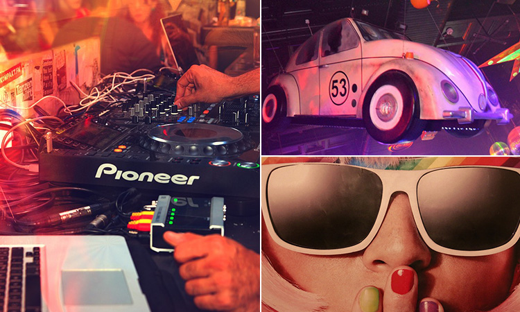 Three tiled images of Flares, Newcastle - including one of a DJs' hands on his set, a woman in sunglasses and a vintage car above the dance floor of Flares