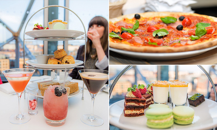 Three tiled images of an afternoon tea with cocktails and a girl in the background, a pizza and the top layer of the afternoon tea