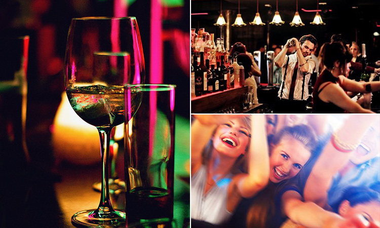 Three tiled images of some half drunk drinks in a nightclub, a barman mixing a cocktail and some girls partying
