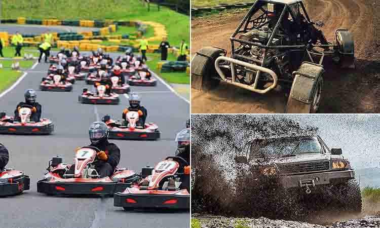 Three tiled images - including one of people racing in go karts on an outdoor track, one of someone driving a 4X4 through a muddy field and one of someone driving a rage buggy in mud
