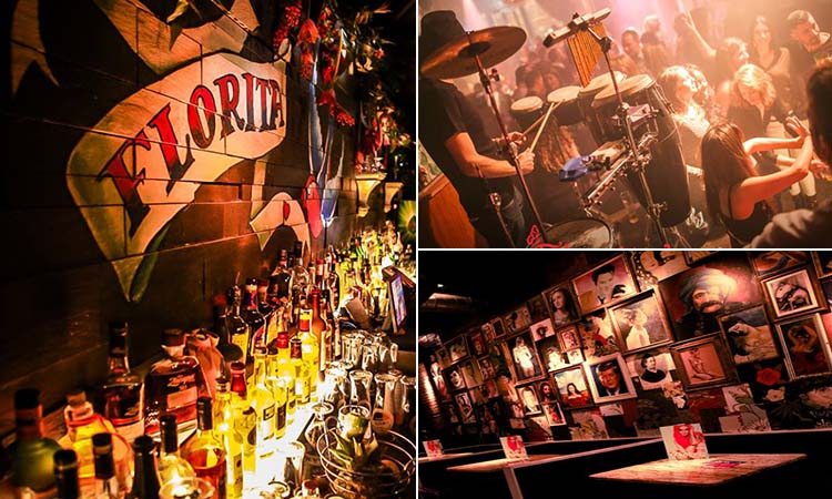 Three tiled images of Floritas, Newcastle - including one of the bar interior, spirit bottles on a bar top, and a man performing on stage to a busy crowd