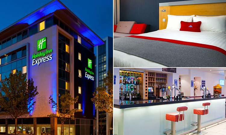 Three tiled images of the Holiday Inn Express, including one of the exterior, one of a double room and one of a bar