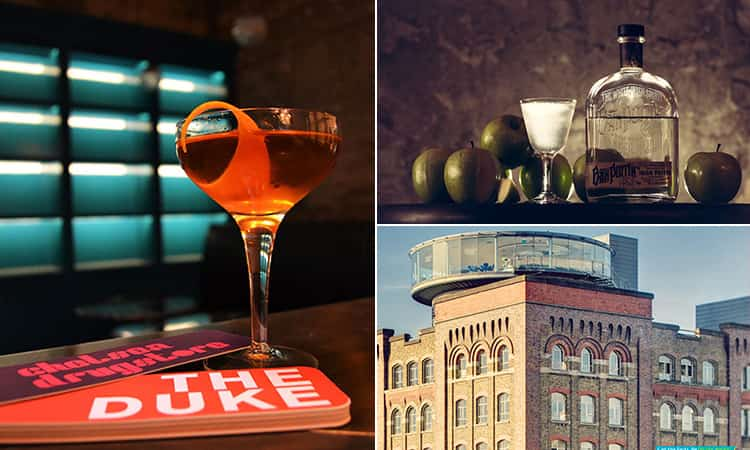Three tiled images; including one of an orange cocktail in a martini glass, a cocktail with limes and next to a bottle of spirits and the Gravity Bar at the Guinness Storehouse above buildings