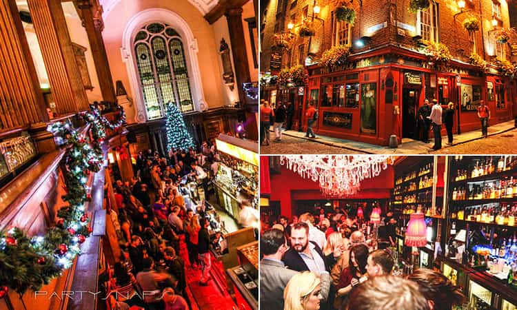 Three tiled images of bars in Dublin; including the interior of Lillie's Bordello and The Church, as well as the exterior of The Temple Bar pub