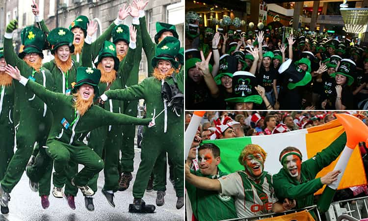 Three tiled images of St Paddy's Day in Dublin, including people dressed up as leprechauns, three men in face paint and holding up an Irish flag in a stadium and people celebrating in Guinness hats