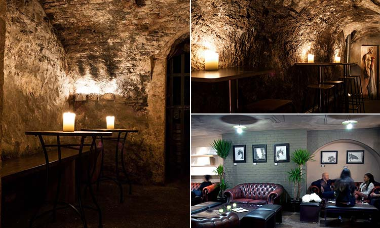 Three tiled images - including two of the underground-style cave halls in Bagots Hutton, and one of a room in the bar at Bagots Hutton