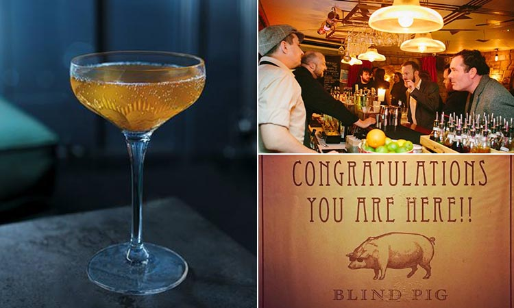 Three tiled images of Blind Pig - including one of a cocktail, one of the Blind Pig sign and a bartender serving some men at a bar