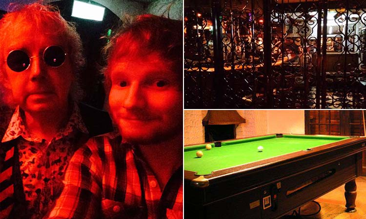 Three tiled images - one of a man in a selfie with Ed Sheeran, one of a pool table and one of the interior of the Hacienda Bar