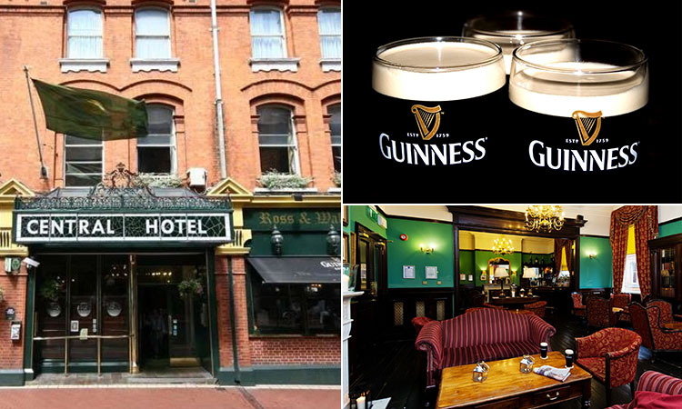 Three tiled images - including one of the exterior of Central Hotel, Dublin, one of The Library Bar interior and one of three pints of Guinness
