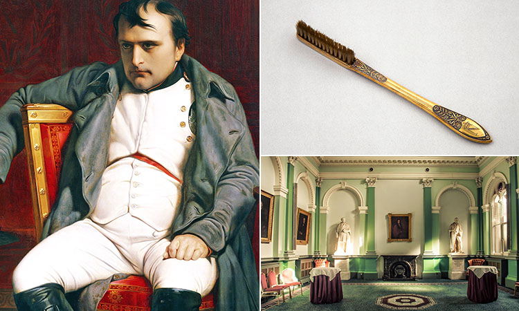 Three tiled images - including one of a portrait of Napoleon sat down, one of his toothbrush and one a grand room in The Royal College of Physicians, Dublin