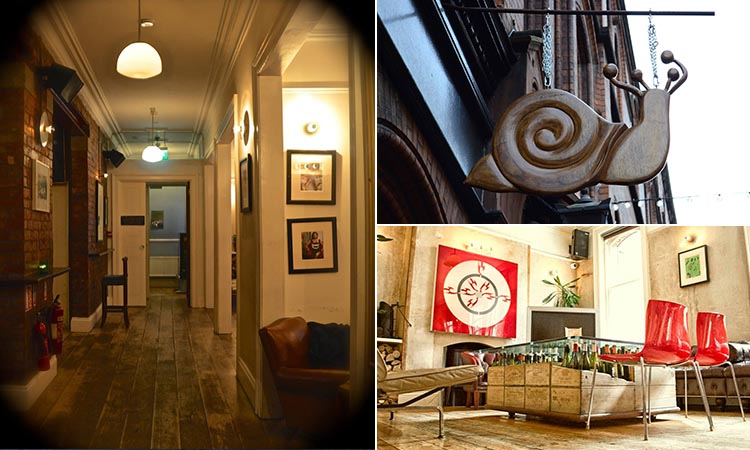 Three tiled images - including one of a wooden snail above a doorway, one of the empty hallway in The Secret Bar, Dublin, and one of a room in the bar