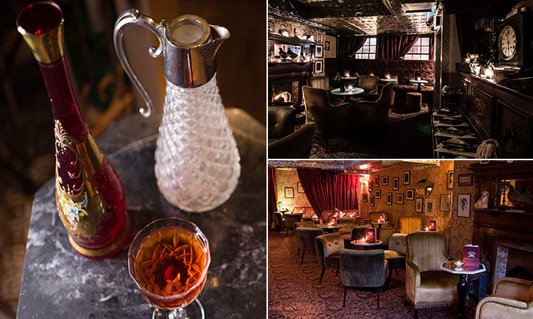 Three tiled images - including two of the interior of the Vintage Cocktail Club, Dublin, and one of various drinks in vintage jugs and glasses on a tray