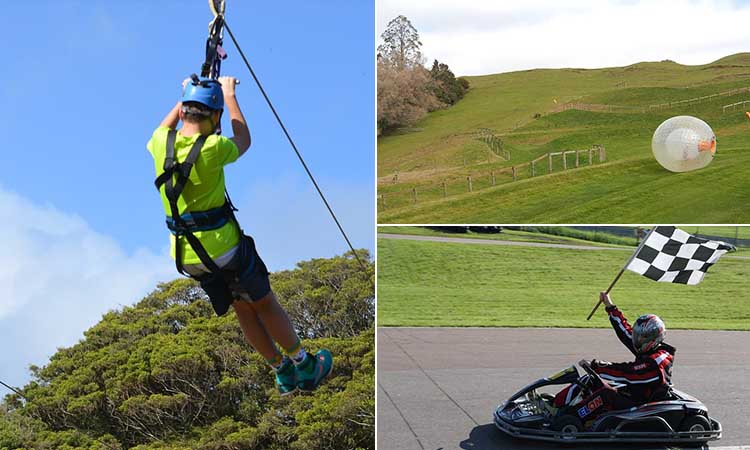 Three tiled images of a person go karting, zorbing and ziplining