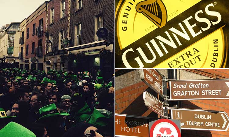 Three tiled images of people in the street on St Patrick's Day, a Guinness sign and a street sign in Dublin