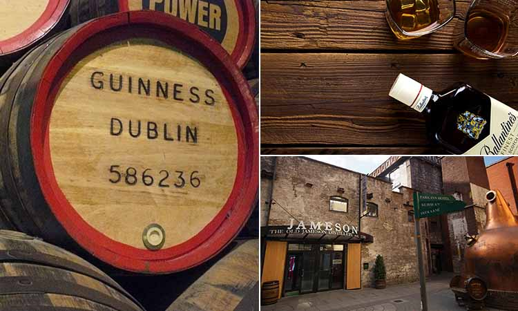 Three tiled images of Jameson distillery, a keg in the Guinness Storehouse and two glasses of whiskey on a bench