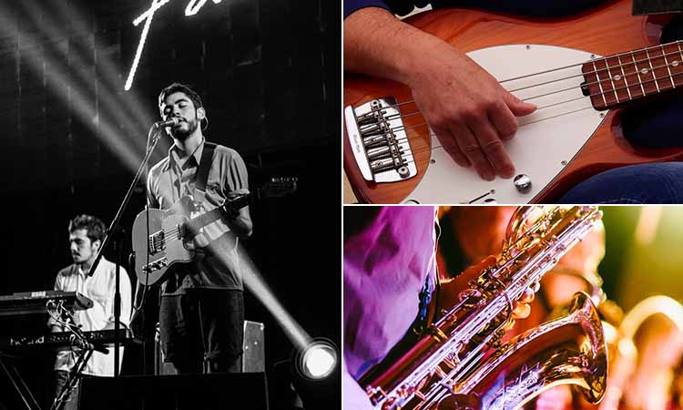 Three tiled images of people playing musical instruments and performing on stage