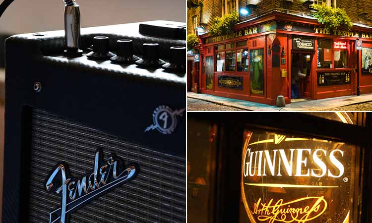 Three tiled images of an amplifier, The Temple Bar and a neon sign lit up with Guinness written on