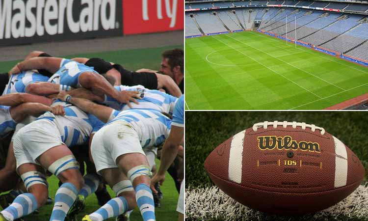 Three tiled images of a rugby pitch, a rugby ball and a scrum