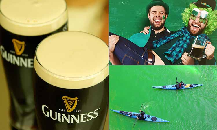 Three tiled images of two pints of Guinness, a green river on St Patrick's Day and two men celebrating with a pint and wearing hats and wigs