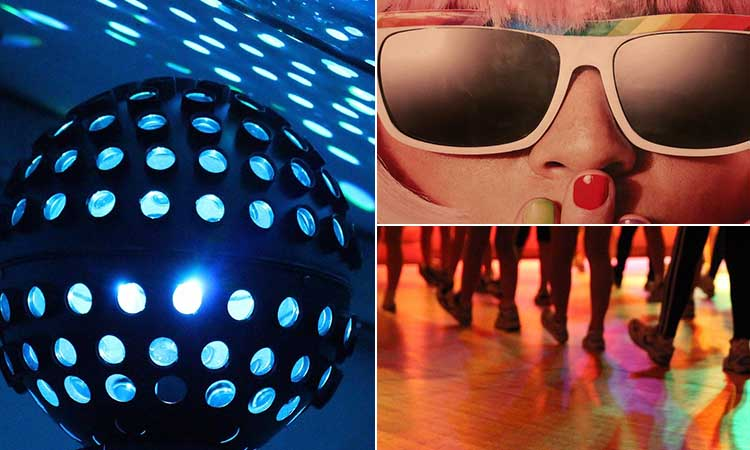 Three tiled images of a disco ball, a girl wearing retro sunglasses and an 80s dance class taking place