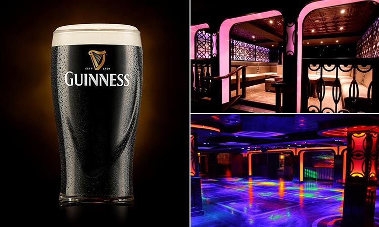 Three tiled images of the interiors of CopperFace Jack's nightclub and a pint of Guinness