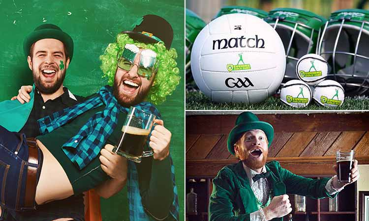 Three tiled images of people celebrating St Patrick's Day and a football used in Gaelic Games
