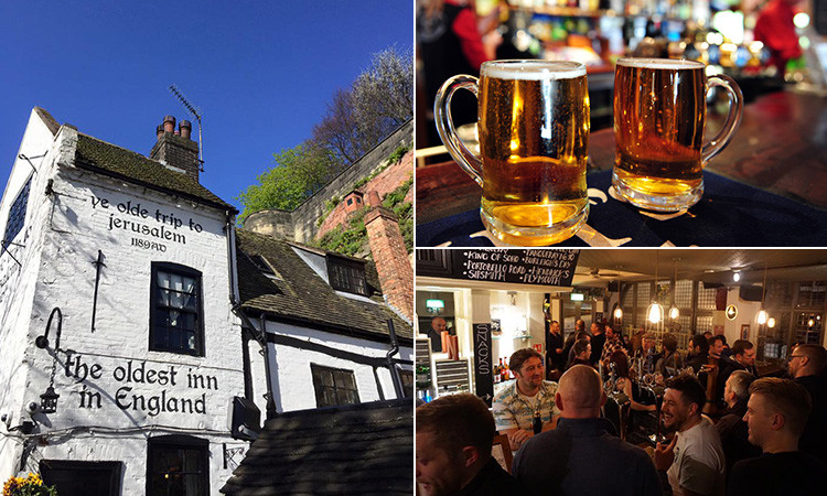 Three tiled images - one of the exterior of Ye Olde Trip to Jerusalem, one of people in a pub and another of two full beers in tankards on a bar top