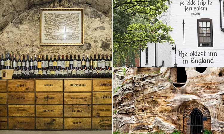 Three tiled images of Ye Olde Trip to Jerusalem, a wine cellar in a cave and the exterior of some caves