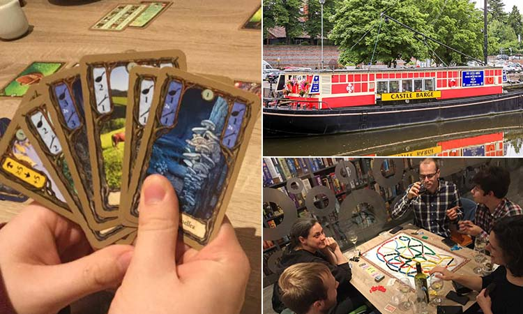 Three tiled images of people playing board games, someone holding some cards and the Castle Barge on a river in Nottingham