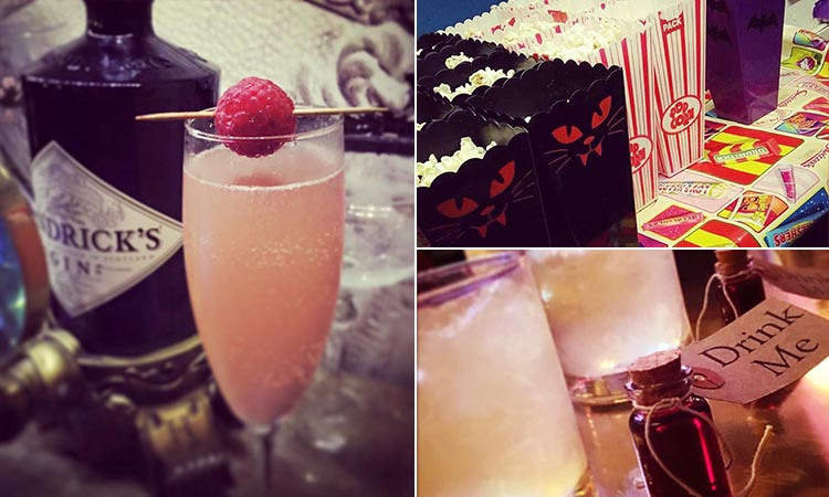 Three tiled images of some popcorn and alcoholic beverages
